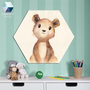 Medve bocs - babaszoba dekoráció, akvarell fali kép, Otthon & Lakás, Dekoráció, Falra akasztható dekor, Fotó, grafika, rajz, illusztráció, Hexart Design - Az okos dekoráció\nNincs szükség keretre / Kasírozott habkarton / Egy mozdulattal fel..., Meska