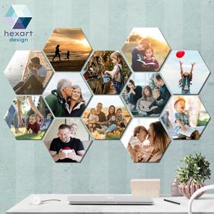 12 db-os hatszög fotó dekoráció a Te családi képeiddel, Otthon & Lakás, Dekoráció, Kép & Falikép, Fotó, grafika, rajz, illusztráció, Hexart Design - Az okos dekoráció\nNincs szükség keretre / Kasírozott habkarton / Egy mozdulattal fel..., Meska