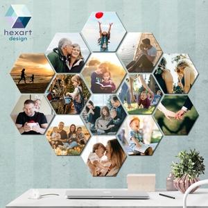 14 db-os hatszög fotó dekoráció a Te családi képeiddel, Otthon & Lakás, Dekoráció, Kép & Falikép, Fotó, grafika, rajz, illusztráció, Hexart Design - Az okos dekoráció\nNincs szükség keretre / Kasírozott habkarton / Egy mozdulattal fel..., Meska