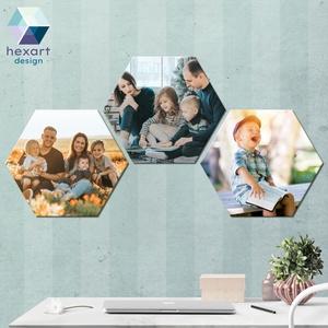 3 db-os hatszög fotó dekoráció a Te családi képeiddel, Otthon & Lakás, Dekoráció, Kép & Falikép, Fotó, grafika, rajz, illusztráció, Hexart Design - Az okos dekoráció\nNincs szükség keretre / Kasírozott habkarton / Egy mozdulattal fel..., Meska