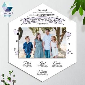 Nagymama ajándék, családi fotóval - fali kép, dekor (egyedi családnevekkel, családi fotóval és választható színekben), Otthon & Lakás, Dekoráció, Falra akasztható dekor, Hexart Design - Az okos dekoráció Nincs szükség keretre / Kasírozott habkarton / Egy mozdulattal fel..., Meska