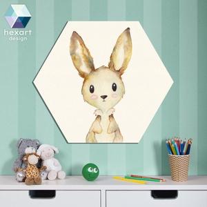 Nyuszi kölyök - babaszoba dekoráció, akvarell fali kép, Otthon & Lakás, Dekoráció, Falra akasztható dekor, Fotó, grafika, rajz, illusztráció, Hexart Design - Az okos dekoráció\nNincs szükség keretre / Kasírozott habkarton / Egy mozdulattal fel..., Meska