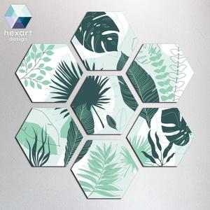 Hexart Plants fali dekoráció - menta-zöld, Otthon & Lakás, Dekoráció, Falra akasztható dekor, Fotó, grafika, rajz, illusztráció, Hexart Design - Az okos dekoráció\nNincs szükség keretre / Kasírozott habkarton / Egy mozdulattal fel..., Meska