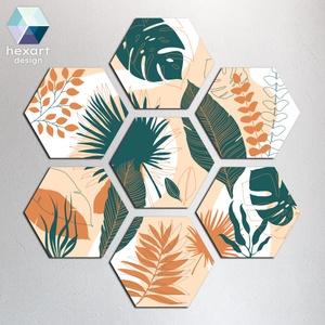 Hexart Plants fali dekoráció - narancs-zöld, Otthon & Lakás, Dekoráció, Falra akasztható dekor, Fotó, grafika, rajz, illusztráció, Hexart Design - Az okos dekoráció\nNincs szükség keretre / Kasírozott habkarton / Egy mozdulattal fel..., Meska
