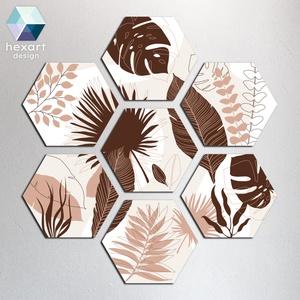 Hexart Plants fali dekoráció - kávé barna, Otthon & Lakás, Dekoráció, Falra akasztható dekor, Fotó, grafika, rajz, illusztráció, Hexart Design - Az okos dekoráció\nNincs szükség keretre / Kasírozott habkarton / Egy mozdulattal fel..., Meska