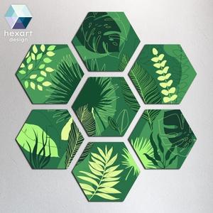 Hexart Plants fali dekoráció - zöld árnyalatok, Otthon & Lakás, Dekoráció, Falra akasztható dekor, Fotó, grafika, rajz, illusztráció, Hexart Design - Az okos dekoráció\nNincs szükség keretre / Kasírozott habkarton / Egy mozdulattal fel..., Meska