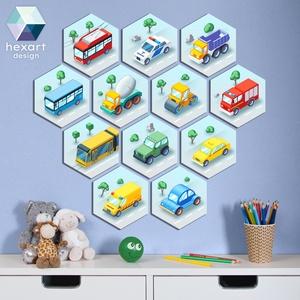 12 db-os babaszoba dekoráció, fali kép - választható járművekkel (autók, verdák, járgányok), Otthon & Lakás, Dekoráció, Falra akasztható dekor, Fotó, grafika, rajz, illusztráció, Hexart Design - Az okos dekoráció\nNincs szükség keretre / Kasírozott habkarton / Egy mozdulattal fel..., Meska