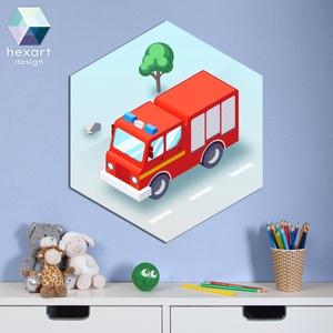 Tűzoltóautó - baba- és gyerekszoba dekoráció, fali kép, Otthon & Lakás, Dekoráció, Falra akasztható dekor, Fotó, grafika, rajz, illusztráció, Hexart Design - Az okos dekoráció\nNincs szükség keretre / Kasírozott habkarton / Egy mozdulattal fel..., Meska