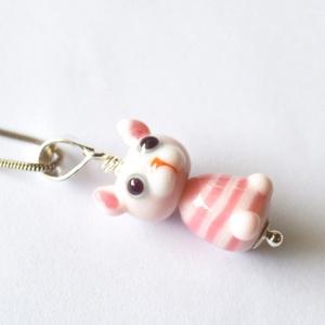 Pink cirmos,, lámpagyöngy medál, Ékszer, Medál, Üvegművészet, Saját készítésű lámpagyöngyök és ezüst alkatrészek felhasználásával készült cicás medál.\n\nMérete: kb..., Meska