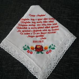 Hímzett keszkenő - esküvői szülőköszöntő, Esküvő, Emlék & Ajándék, Szülőköszöntő ajándék, Hímzés, Esküvői szülőköszöntő keszkenő. \nA megrendelés előtt vagy után, üzenetben várom az elképzeléseteket:..., Meska