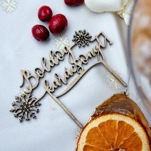 Tortabeszúró, Boldog Karácsonyt, hópelyhes, lézervágott, 4 mm vastag (HisziArt) - Meska.hu