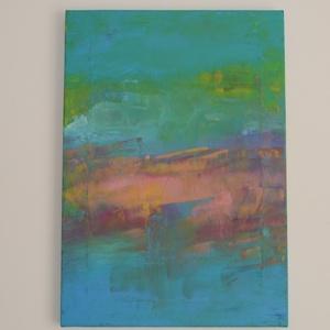 Eredeti akril festmény, absztrakt, Vidám színekben, kék-rózsa, 35 x 50 cm, Otthon & lakás, Képzőművészet, Dekoráció, Kép, Festmény, Akril, Lakberendezés, Falikép, Festészet, Eredeti, akrilfestékkel készült festmény, absztrakt, fakeretre feszített vászon alapon, képakasztóva..., Meska