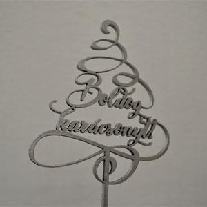 """Tortabeszúró, Boldog karácsonyt, karácsonyfát formázó hullámokkal, Karácsony, Karácsonyi dekoráció, Kulinária (élelmiszer), Famegmunkálás, Festett tárgyak, Karácsonyi tortabeszúró \""""Boldog Karácsonyt!\"""" felirattal, 4 mm-es rétegelt nyírfából lézervágással ké..., Meska"""