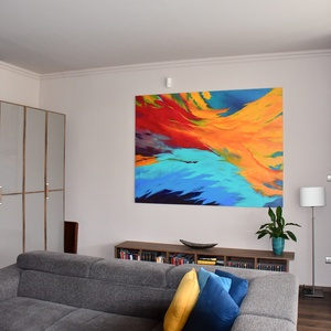 Extra nagy, kölönleges színvilágú, kézzel festett absztrakt akril festmény, 150 x 200 cm (HisziArt) - Meska.hu