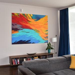 Extra nagy, kölönleges színvilágú, kézzel festett absztrakt akril festmény, 150 x 200 cm, Otthon & lakás, Képzőművészet, Festmény, Akril, Napi festmény, kép, Festészet, Fakeretre feszített minőségi olasz festővászonra festettem az extra nagy, absztrakt, akril festékkel..., Meska