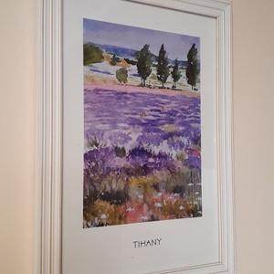 Akvarell NYOMAT, saját festményem, Tihanyi levendulás, Otthon & lakás, Képzőművészet, Festmény, Akvarell, Festészet, Akvarell festményemból készült nyomat, minőségi nyomtatással. A kép a tihanyi levendulást ábrázolja...., Meska