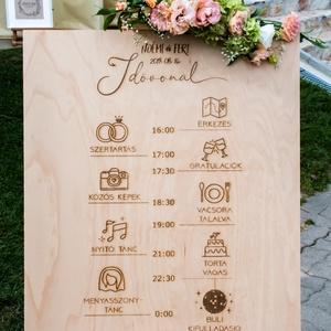 Esküvői dekoráció, rétegelt falemezből, menetrend, idővonal, Otthon & lakás, Esküvő, Esküvői dekoráció, Dekoráció, Famegmunkálás, Esküvői dekoráció, 4 mm-es rétegelt falemezből, lézergravírozással.\nA felirat az esküvő menetrendjét..., Meska