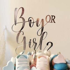 """Lézervágott fa dekoráció, tortabeszúró, Boy or girl? felirattal, Otthon & Lakás, Dekoráció, Csokor & Virágdísz, Rortabeszúró """"Boy or girl?"""" felirattal, 4 mm-es rétegelt nyírfából lézervágással készült termék, nat..., Meska"""