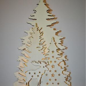 Karácsonyi dekoráció 3 fenyőfával és 1 szarvassal, Otthon & Lakás, Dekoráció, Lézervágott karácsonyi dísz 6-8 mm vastag rétegelt nyárfalemezből. A dekoráció magassága 85 cm. Az á..., Meska