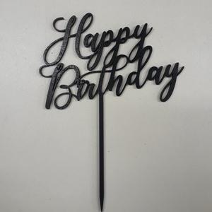 Happy birthday tortabeszúró, Élelmiszer, Édesség, Famegmunkálás, Lézervágott tortabeszúró, 4 mm vastag nyárfából, natúr vagy festett kivitelben (bármilyen színt meg ..., Meska