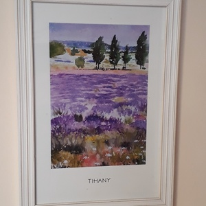 Akvarell NYOMAT, saját festményem, Tihanyi levendulás, Művészi nyomat, Művészet, Festészet, Akvarell festményemból készült nyomat, minőségi nyomtatással. A kép a tihanyi levendulást ábrázolja...., Meska
