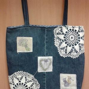 romantikus hangulatú farmertáska, Válltáska, Kézitáska & válltáska, Táska & Tok, Varrás, Ezt a táskát újra hasznosított anyagokból készítettem, az alapanyag farmervászon melyet levendula mi..., Meska
