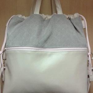 összehúzós nagyméretű táska púder rózsaszínben, Táska, Hátizsák, Válltáska, oldaltáska, Bőrművesség, Varrás,  A táskát kellemes tapintású bútorszövet és textilbőr kombinálásával készítettem. A táskát szívecsk..., Meska