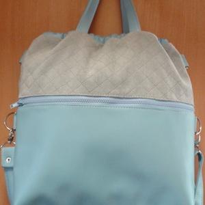 összehúzós nagyméretű táska világos kékben, Táska, Táska, Divat & Szépség, Válltáska, oldaltáska, Bőrművesség, Varrás,  A táskát kellemes tapintású bútorszövet és textilbőr kombinálásával készítettem. A táskát szívecske..., Meska