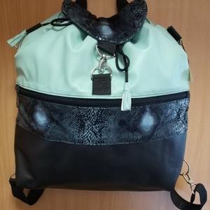 kígyóbőr mintás 3in1 táska, Hátizsák, Hátizsák, Táska & Tok, Bőrművesség, Varrás, Ez a hátizsák különböző színű ruházati textilbőrök/vékonyabb, puhább/ anyag kombinációjával készült...., Meska