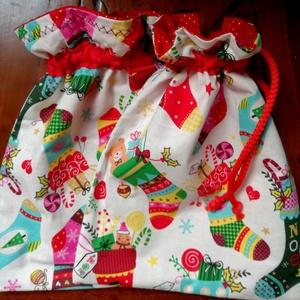 Mikulás zsák, Otthon & Lakás, Karácsony & Mikulás, Mikulás, Varrás, 100% pamutvászonból szeretettel készített dekoratív  25x19 cm-s zsákocska,amelyet ünnep után tárolók..., Meska