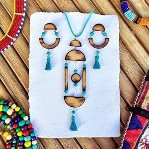 Türkizes kékség szett, Ékszer, Ékszerszett, Famegmunkálás, Fából készült szett türkinittel, egy kis art decos stílus világgal fűszerezve.\nA fa része láthatatla..., Meska