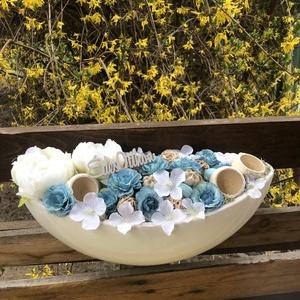 Édes otthon kék asztali, Otthon & Lakás, Dekoráció, Asztaldísz, Kerámia kaspó az alapja, melybe selyemvirágok, száraztermés és fa lézervágott édes otthon felirat ke..., Meska