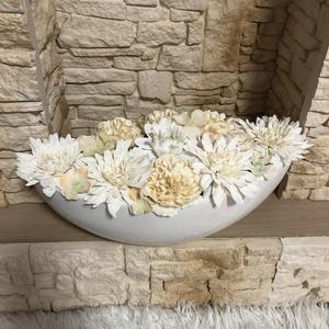 Virágos asztali , Otthon & Lakás, Dekoráció, Asztaldísz, Virágkötés, Kerámia kaspó az alap, selyemvirágokkal és egy fa táblával díszítettem.\nKérhető felirat nélkül illet..., Meska