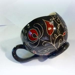 Gömbögre- virágom- kézzel festett bögre (Hokata) - Meska.hu