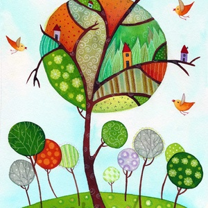 Zengő erdő- A4-as méretű nyomat, Otthon & lakás, Képzőművészet, Festmény, Akvarell, A4-es méretű (21 x30 cm) művészi nyomat, szignózva. 300 g -os műnyomó papíron. Két karton közé téve ..., Meska