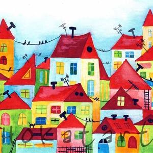 Házak - A4-as méretű nyomat, Képzőművészet, Otthon & lakás, Festmény, Akvarell, Festészet, Fotó, grafika, rajz, illusztráció, A4-es méretű (21 x30 cm) művészi nyomat, szignózva.\n300 g -os műnyomó papíron.\nKét karton közé téve ..., Meska