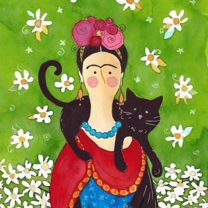 Frida- A4-as méretű nyomat, Otthon & lakás, Képzőművészet, Festmény, Akvarell, A4-es méretű (21 x30 cm) művészi nyomat, szignózva. 300 g -os műnyomó papíron. Két karton közé téve ..., Meska