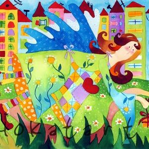 Városi angyal- A4-as méretű nyomat, Otthon & lakás, Képzőművészet, Festmény, Akvarell, A4-es méretű (21 x30 cm) művészi nyomat, szignózva. Ezt a képemet megtalálod a Képzelet világa című ..., Meska