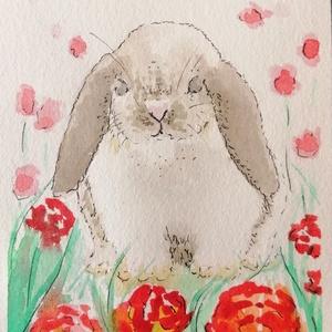Nyuszi rózsákkal 1., Húsvéti díszek, Ünnepi dekoráció, Dekoráció, Otthon & lakás, Képzőművészet, Festmény, Akvarell, Festészet, Fotó, grafika, rajz, illusztráció, Lassan újra beköszönt a húsvéti időszak. Ez a nyuszis akvarell tökéletes dísz az otthonotokba, ami f..., Meska