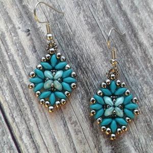 Blue and silver, gyöngy, gyöngyékszer, gyöngy fülbevaló, Ékszer, Fülbevaló, Lógó fülbevaló, Ékszerkészítés, Gyöngyfűzés, gyöngyhímzés, Meska