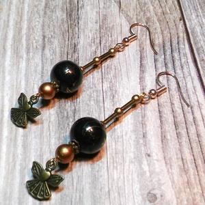 Fekete égbolt fülbevaló- gyöngy, gyöngyékszer, gyöngy fülbevaló - ékszer - fülbevaló - lógó fülbevaló - Meska.hu