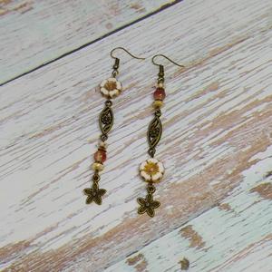 Virágzó tavasz fülbevaló, gyöngy, gyöngyékszer, gyöngy fülbevaló, Ékszer, Fülbevaló, Lógós fülbevaló, Gyöngyfűzés, gyöngyhímzés, Ékszerkészítés, Narancs és bronz színű virágzó tavasz, hosszú fülbevaló. :)  \nGyönyörű szép Table Cut virág alakú gy..., Meska