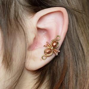 Steampunk réz fülgyűrű, Ékszer, Fülbevaló, Esküvő, Ötvös, Ékszerkészítés, Sárga-és vörösréz drótból készült fülgyűrű. \n\nA fülgyűrűk viseléséhez nem szükséges lyuk a fülre, a ..., Meska