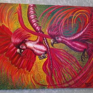 Pink papagáj álom pár, Otthon & lakás, Képzőművészet, Dekoráció, Kép, Festmény, Akril, Napi festmény, kép, Festészet, Fotó, grafika, rajz, illusztráció, 100 x 80  cm. Akril ,egyedi ,általam festett  festmény vászonra.A kép keretezést nem igényel, azonna..., Meska
