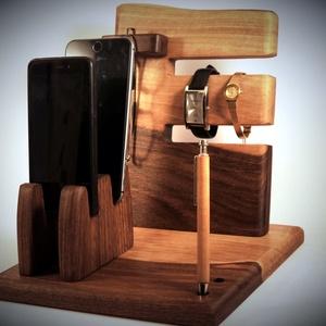 2 Mobil-, szemüveg-, 2 óra-, toll tartó, asztali rendező, Férfiaknak, Otthon & lakás, Lakberendezés, Tárolóeszköz, Famegmunkálás, Diófából készült  tartó. A kép minta rendelésre készül.\n\n\nMérete kb. 25x22x20cm \n\n\n, Meska