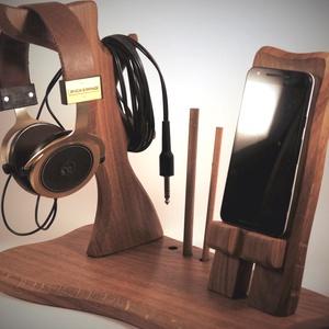 Fejhallgató, és mobil tartó, asztali rendező, Férfiaknak, Otthon & lakás, Lakberendezés, Tárolóeszköz, Famegmunkálás, Tölgyfából készült  fejhallgató, toll, és telefontartó.\nA kép minta, rendelésre készül.\n\nMérete kb. ..., Meska