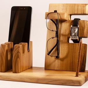 Mobil-, szemüveg-, óra-, toll tartó, asztali rendező, Férfiaknak, Otthon & lakás, Lakberendezés, Tárolóeszköz, Famegmunkálás, tulipánfából készült tároló. 2 telefon, szemüveg és toll, ceruza. Készen van, azonnal tudjuk küldeni..., Meska
