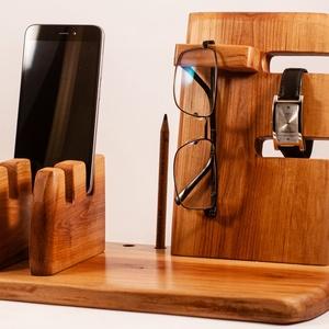 Mobil-, szemüveg-, óra-, toll tartó, asztali rendező, Férfiaknak, Otthon & lakás, Lakberendezés, Tárolóeszköz, Famegmunkálás, Barkócaberkenyefából készült rendező. 2 telefon, szemüveg és toll, ceruza. Készen van, azonnal tudju..., Meska