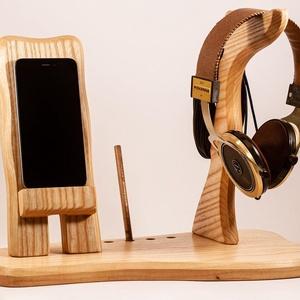 Fejhallgató, és mobil tartó, asztali rendező, Férfiaknak, Otthon & lakás, Lakberendezés, Tárolóeszköz, Famegmunkálás, Kőrisfából készült  fejhallgató, toll, és telefontartó.\nA kép minta, rendelésre készül.\n\nMérete kb. ..., Meska