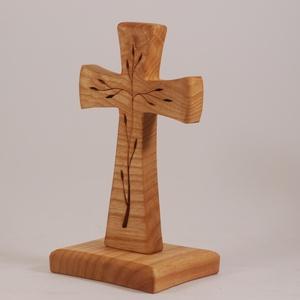 Mintás, talpas fakereszt , Egyéb, Vallási tárgyak, Famegmunkálás, Kőrisfából készült, álló kereszt. Lombfűrésszel átvágott minta.\nMérete: 11x9x21,5cm, Meska